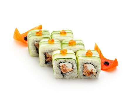 maki: Maki Sushi - Rolls with Fried Salmon and Cream Cheese insisde. Cucumber outside. Topped with Ikura (salmon roe) Stock Photo