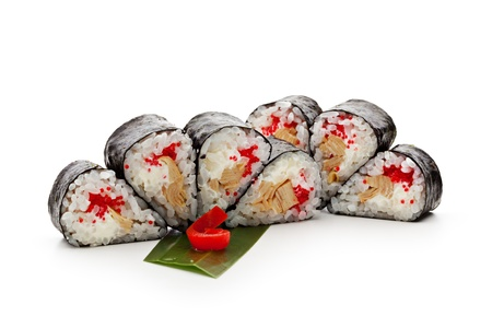 Maki Sushi - Roll made of Tobiko (flying fish caviar), Cream Cheese and Tamago (japanese omelet) photo