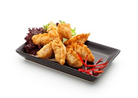 dumpling: Seafood Fried Dumpling - Gyoza Stock Photo