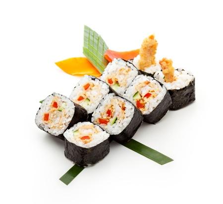 Maki Sushi with Deep Fried Shrimp and Cucumber inside. Nori outside