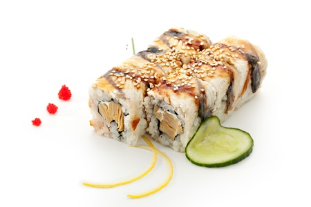 Maki Sushi - Roll made of Tamago (Japanese Omelet) and Cream Cheese  inside. Smoked Eel outside photo