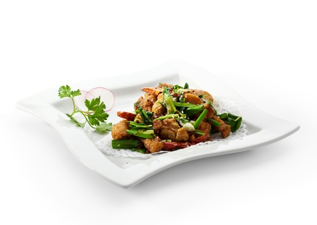animal leg: Stir Fried Frog Legs with Greens