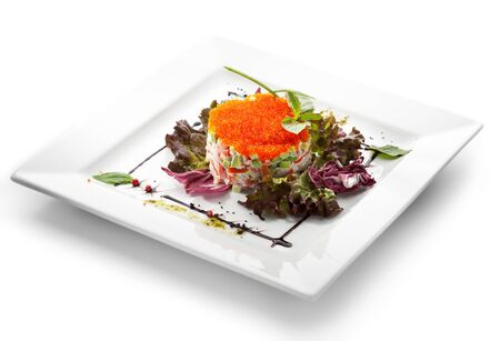 crabmeat: Salad with Crab Meat, Tobiko and Salad Leaves