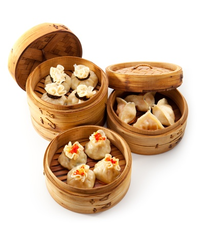 dim: Various Dim Sum in Bamboo Steamed Bowl Stock Photo