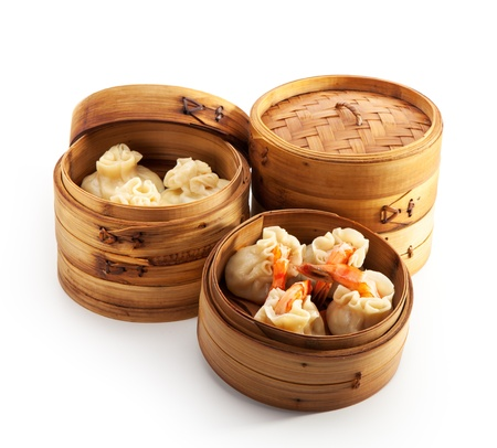 chinese cuisine: Various Dim Sum in Bamboo Steamed Bowl Stock Photo