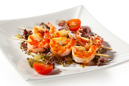 Japanese Skewered Prawns with Vegetables photo