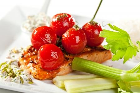 celery: Salmon Steak with Fresh Celery and Cherry Tomato