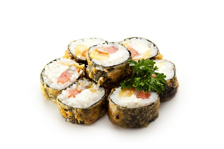 Tempura Maki Sushi - Roll made of Smoked Salmon, Smoked Eel, Pineapple and Cream Cheese inside photo