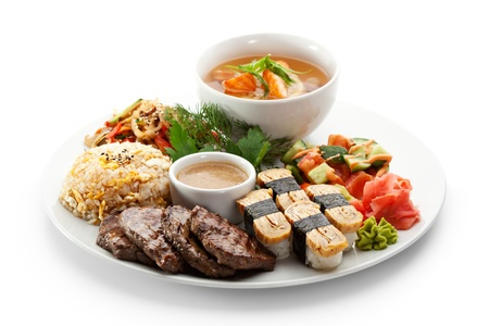 seafood soup: Lunch - Vegetables Salad, Sushi, Salmon Soup, Fried Vegetable, Fried Beef and Fried Rice