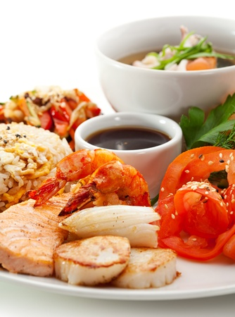 seafood soup: Lunch - Salad, Sliced Tomato, Seafood Soup, Fried Vegetable, Fried Seafood and Fried Rice