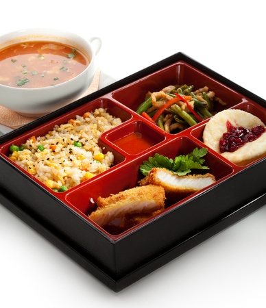Lunch Box (Bento) - Rice with Green Peas, Fried Fish, String Beans Salad and Fruits Stock Photo - 19486096