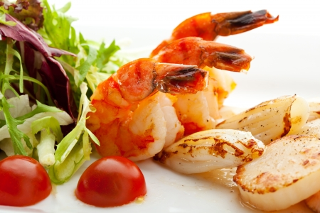seafood dinner: Grilled Foods - Seafood with Fresh Salad Stock Photo