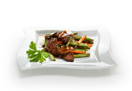 Beef with String Beans and Carrots photo