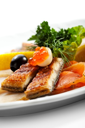eel: Fish Dish with Lemon, Parsley Leaf and Olives