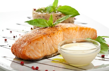 grilled fish: Salmon Steak with Risotto
