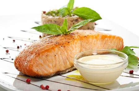 steak plate: Salmon Steak with Risotto