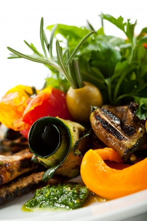 antipasti: Grilled Vegetables with Fresh Green Herbs