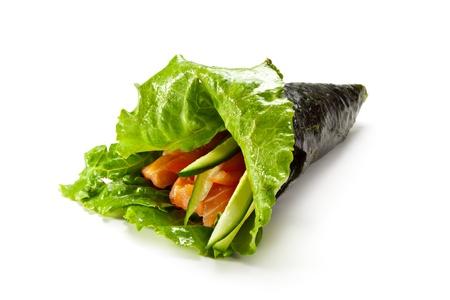 Temaki - Hand Roll Sushi made of Fresh Salmon, Fresh Cucumber, Tomato and Japanese Mayonnaise inside. Nori and Salad Leaf outside photo