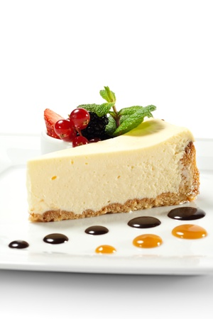 cheesecake: Dessert - Cheesecake with Fresh Berries Bowl and Green Mint