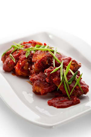 Hot Meat Dishes - Chicken Wings with Lettuce photo