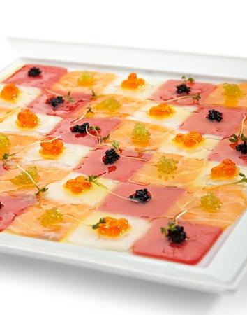 Seafood Carpaccio (Salmon, Tuna and Scallop) with Various type of Caviar Stock Photo - 19486135