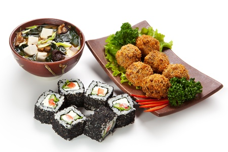 Japanese Meal - Deep Fried Salmon Croquette with Maki Sushi (Cucumber, Bell Pepper inside. Sesame outside) and Miso Soup (Seaweed, Mushrooms and Tofu Cheese) photo