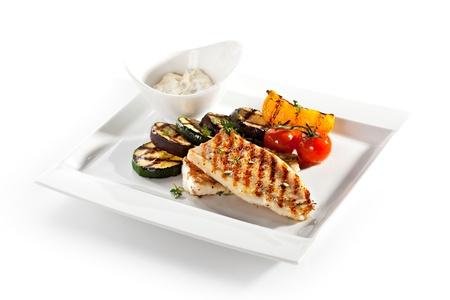Gegrilltes Fischfilet mit Gemüse BBQ Lizenzfreie Bilder