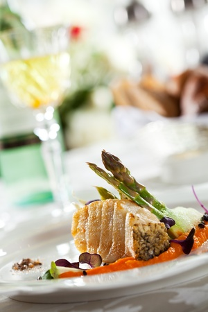 seabass: Grilled Seabass with Carrots Mash and Asparagus
