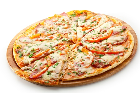 Pizza with Ham, Salami, Tomatoes and Mozzarella Cheese photo