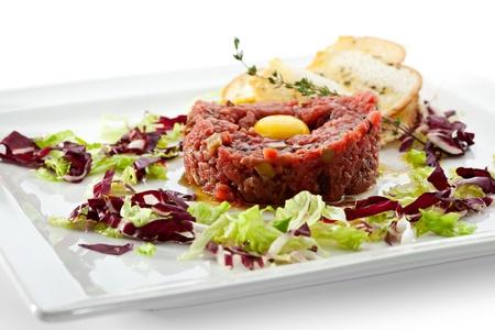 Tuna Tartare with Eggs Yolk and Crispy Bread