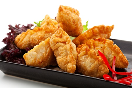 gyoza: Seafood Fried Dumpling - Gyoza Stock Photo