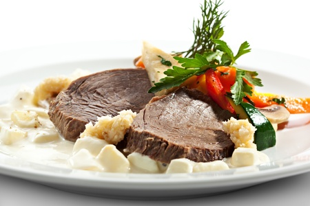 Boiled Beef with Apple Sauce, Vegetables and Horseradish
