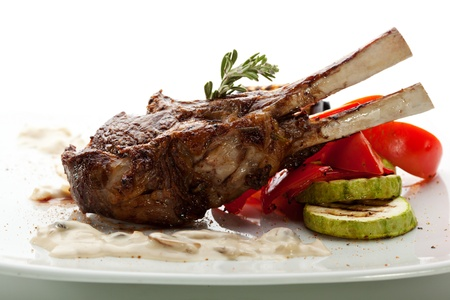 Grilled Rack of Lamb with Mushrooms Sauce and BBQ Vegetables