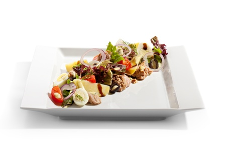 Salad with Fried Tuna, Potato and Vegetables photo