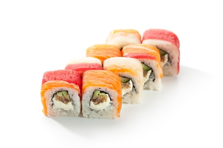 Maki Sushi made of Omelet, Cream Cheese and Cucumber inside. Tuna and Salmon  outside photo