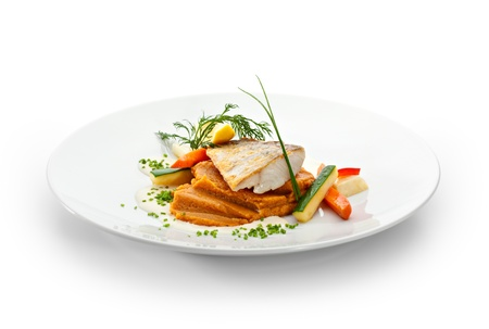 zander: Fried Fish (Zander). Garnished with Lemon,  Sweet Mash and Vegetables