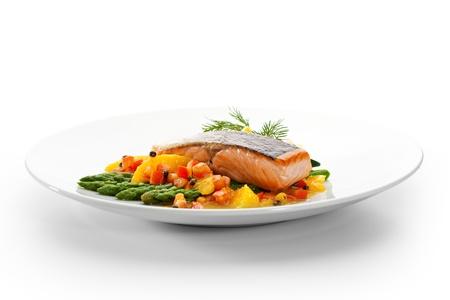 Plates: Salmon Steak with Fruits, Vegetables, Asparagus and Lemon