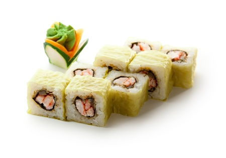 Japanese Cuisine - Sushi Roll with Deep Fried Shrimps insisde photo