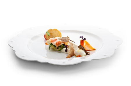 crabmeat: Salad with King Red Crab, Cream, Quail Eggs, Cherry Tomato and Truffle Stock Photo