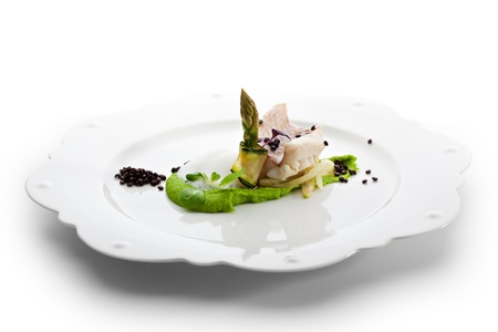 sea bass: Steamed Fillet of Seabass with Green Peas Cream and Asparagus