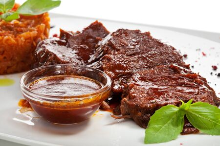 glace: Stew Beef with Cabbage and Demi Glace Sauce Stock Photo