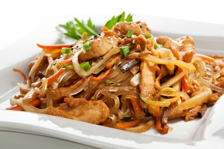 chicken noodle: Chicken with Rice Noodles and Vegetables Stock Photo