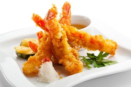 fried shrimp: Japanese Cuisine - Tempura Shrimps (Deep Fried Shrimps) with Vegetables Stock Photo