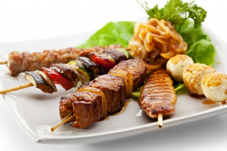 Grilled Foods Garnished with Parsley photo