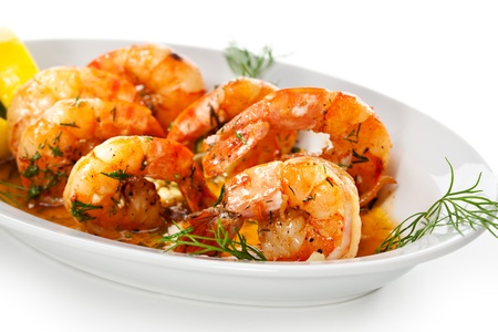 shrimp boat: Fried Shrimps with Lemon and Sauce