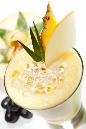 pineapple  glass: Smoothie with Melon, Lime and Pineapple Stock Photo