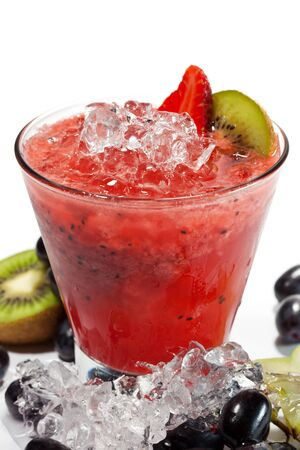blended: Berries Smoothie with Kiwi and Grapes Stock Photo
