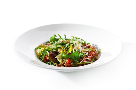Salad with Meat, Vegetables and Rucola photo