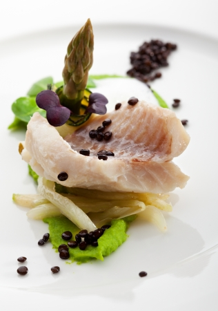 Steamed Fillet of Seabass with Green Peas Cream and Asparagus