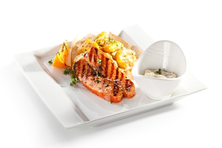 Grilled Salmon with Roasted Cauliflower and Cream Sauce photo